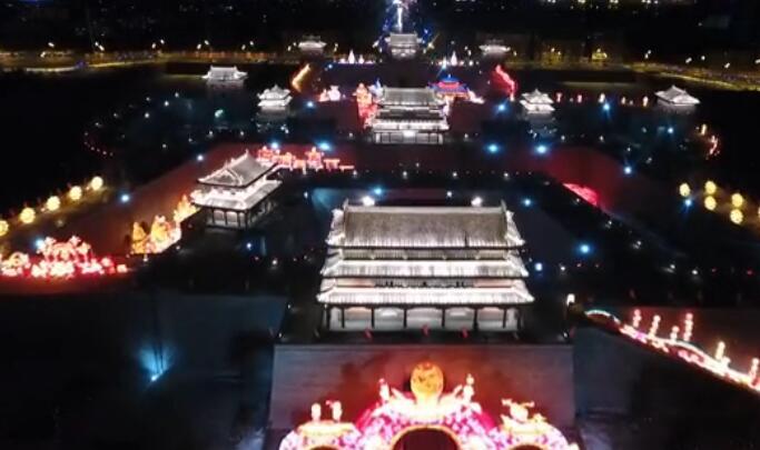 【航拍視頻】俯瞰大同古城燈會的壯觀