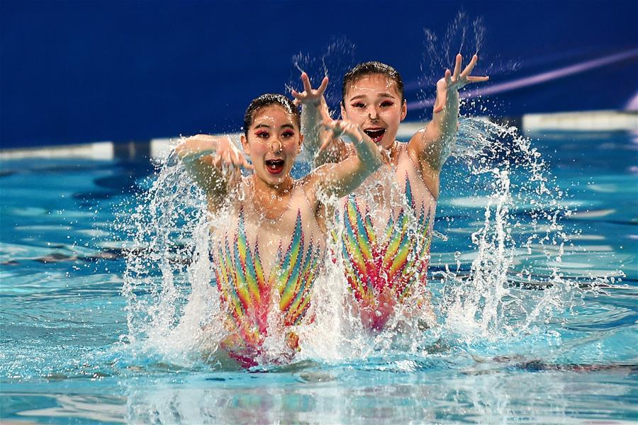 花樣遊泳世界係列賽中國站:雙人自選項目賽況