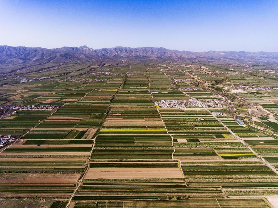 航拍大禹渡节水灌溉工程