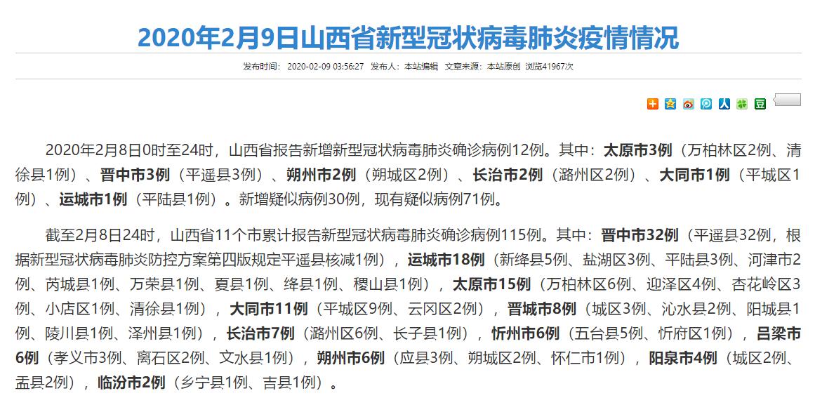 截至2月8日24時 山西累計報告新型冠狀病毒肺炎確診病例115例
