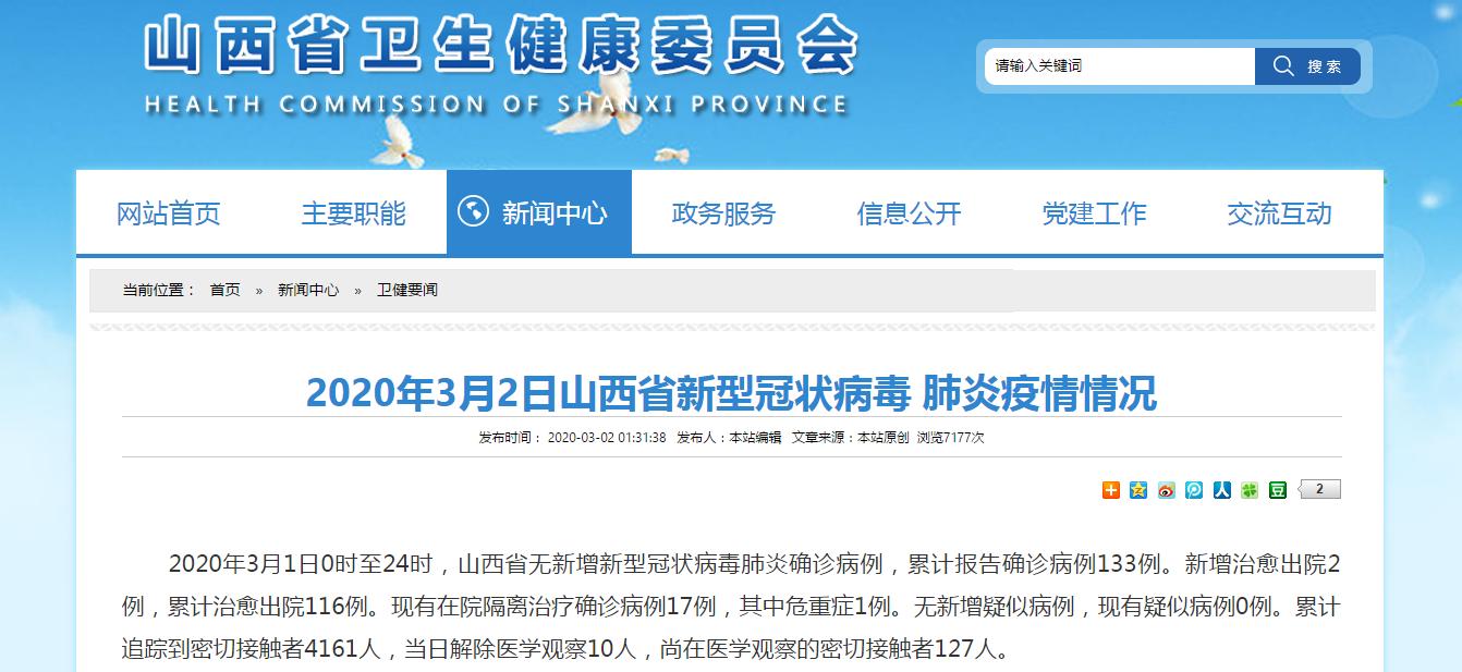 3月1日山西省無新增新冠肺炎確診病例