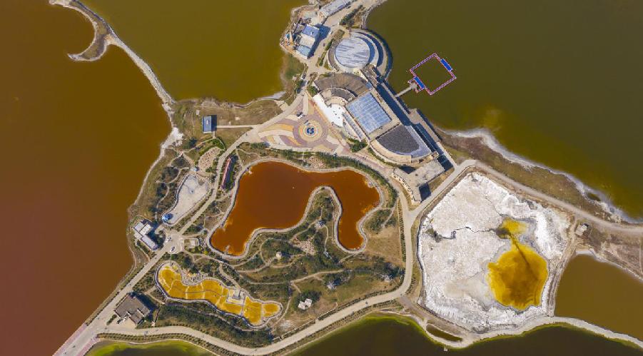 航拍運城鹽湖:色彩斑斕 飛鳥翔集