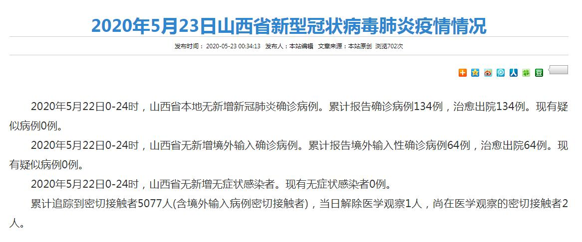 截至5月22日24時 山西省新冠肺炎疫情情況