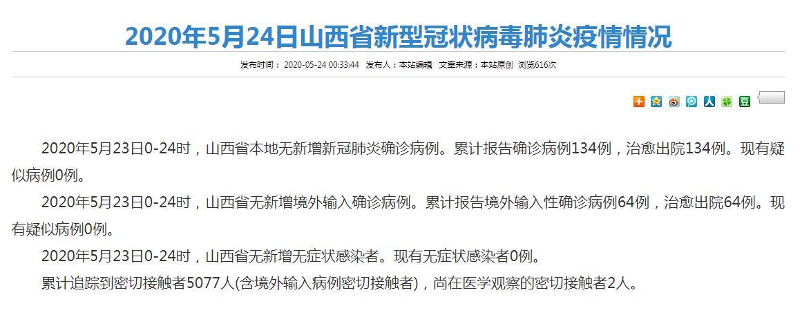 截至5月23日24時 山西省新冠肺炎疫情情況