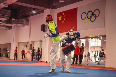 探營在並訓練的國家跆拳道隊、空手道隊